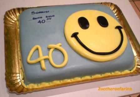 Torta uomo smile 40 anni zuccheroefarina for Decorazioni torte 40 anni uomo